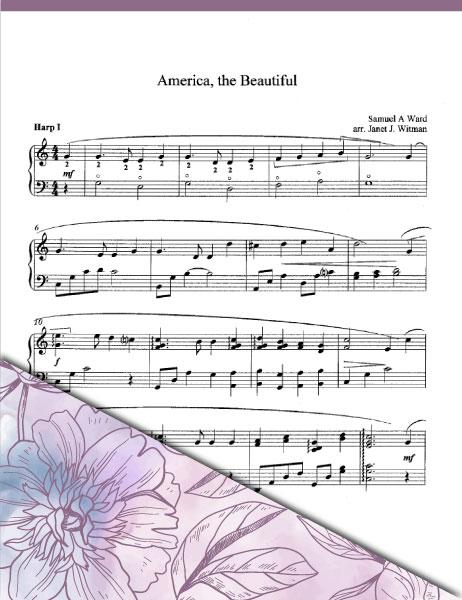 America, The Beautiful - Harp Sheet Music - Brandywine Harps
