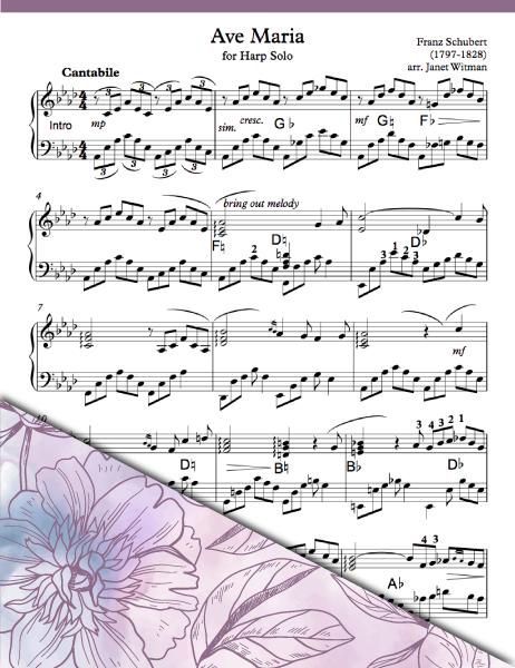 Ave Maria Schubert - Harp Sheet Music - Brandywine Harps