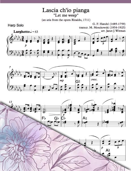 Aria from Handel's Opera - Lascia ch'io pianga - Harp Sheet Music - Brandywine Harps